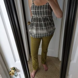 LOFT Modern Straight Fine Green Corduroy Pants 10